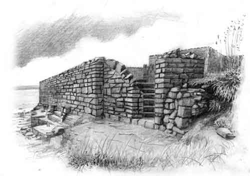 Lime Kiln Ruins Old harbour Drawing
